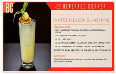 While the rest of the country is settling into chilly autumn weather, the sun is still shining here in Las Vegas, making it the perfect time to mix up this Watermelon Sunshine.