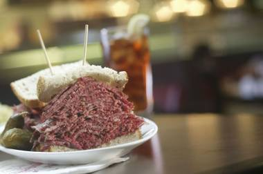 This corned beef sandwich isn't going anywhere.