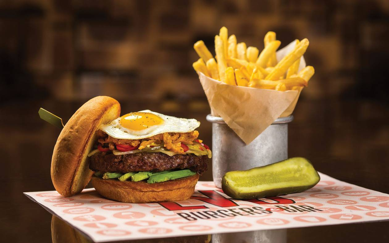 The AAA burger stands for Angus beef, applewood-smoked bacon and arugula.