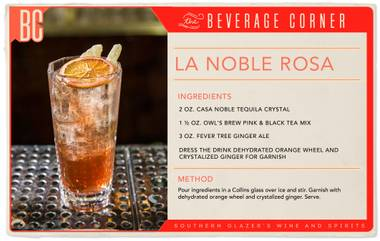 La Noble Rosa is a blend of crisp, unique flavors that come together to create a cocktail that feels truly, well, noble.