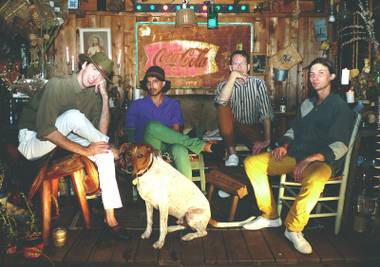 Cox (far left) and Deerhunter play their second Vegas show Sunday night at the Bunkhouse.