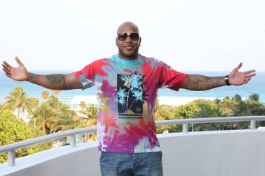 Flo Rida performs at Spire in Houston on Saturday night to cap a Playboy-themed party.