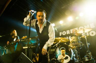 The comic actor re-channels David Brent for Life on the Road.