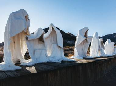 Keep your camera at the ready for Albert Szukalski's The Last Supper sculpture at Goldwell Open Air Museum near Rhyolite.