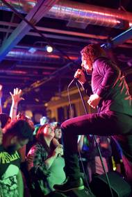 Deafheaven vocalist George Clarke connects with his crowd February 26 at the Bunkhouse.