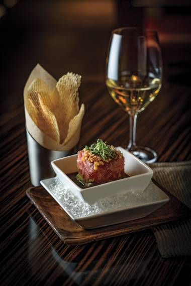 Start with the tuna tartare, with creamy avocado and soy-lime dressing.