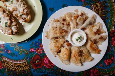 Whether you go with pierogis (top) or zapiekanka, Pierogi Cafe simply wins.