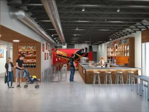 A rendering of the Public Works Coffee Bar
