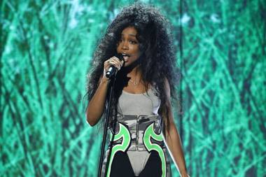 "SZA performs ""Love Galore"" at the BET Awards."