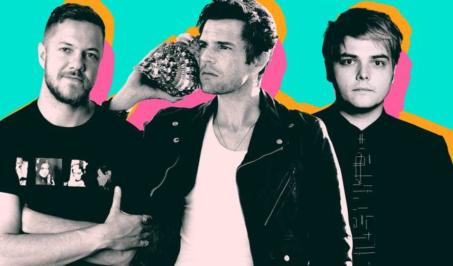 Left to right, Imagine Dragons' Dan Reynolds, The Killers' Brandon Flowers and My Chemical Romance's Gerard Way are helping curate Emerge's lineup.