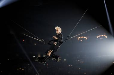 Pink delivered the weekend's most memorable stunt, but Coldplay's Chris Martin stole the show.