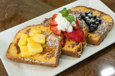 The Ninth Island French toast marries Hawaiian sweet bread with guava cream cheese and coconut syrup.