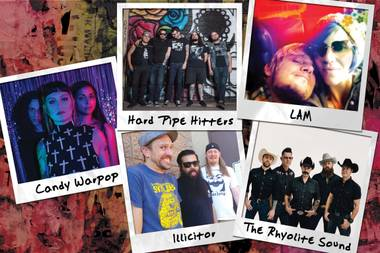 Candy Warpop, Hard Pipe Hitters, Illicitor, LAM and The Rhyolite Sound.
