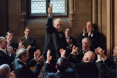 Gary Oldman's Winston Churchill rallies support in Darkest Hour.