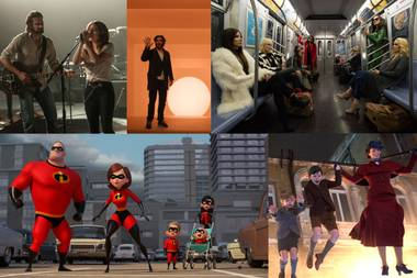 (Clockwise from top left) A Star Is Born, A Wrinkle in Time, Ocean's 8, Mary Poppins Returns, Incredibles 2.