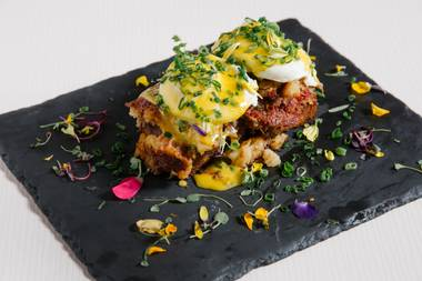 Corned beef bread pudding Benedict? Yes, please.
