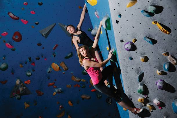 Brea Chipman (left) and Molly Mitchell at the Refuge Climbing and Fitness.
