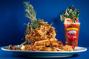 Chicken and waffles and a Bloody Mary at Hash House A Go Go.