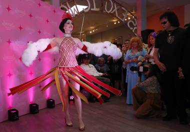 Michelle L'Amour performs during the grand re-opening of the Burlesque Hall of Fame in downtown Las Vegas.