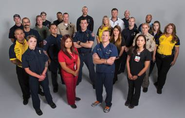 A group of first responders and medical personnel involved in the October 1st tragedy.