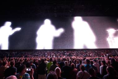 U2 performs behind a 100-foot-wide screen at T-Mobile Arena on May 11, 2018.