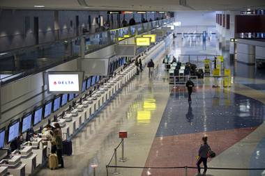 A view of Terminal 1 check-in counters at McCarran International Airport.