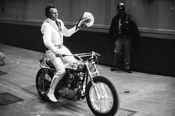 Evel Knievel, shortly before jumping 12 cars at the Cow Palace in San Francisco on March 2, 1972.