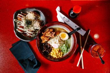 Let's Get Physical fried chicken ramen and Eye of the Takoyaki grilled octopus.
