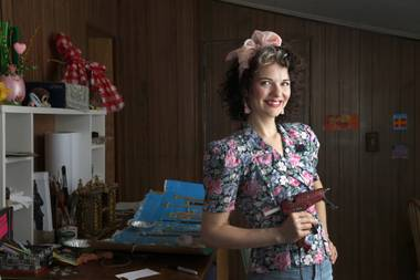 Artist and actress Heidi Rider poses in her home studio.