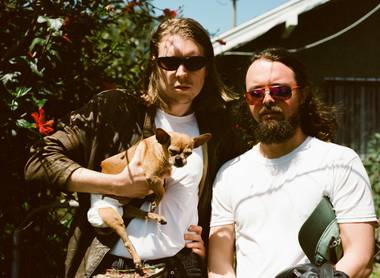 Alex Cameron (left) and saxophonist Roy Malloy