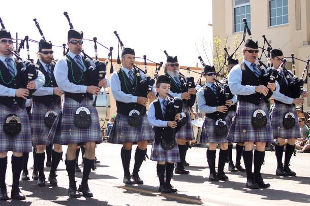 The Las Vegas Pipe Band performs during Henderson's annual St. Patrick's Day parade in 2014. (Yasmina Chavez/Staff)
