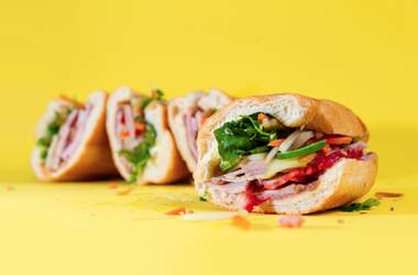 Priced at just $3.50 (!), it's a faithful and toothsome version of Vietnam's national stacker—crispy baguettes stuffed with pork pâté, pork sausage and roast pork loin, along with shredded daikon and carrots, sliced jalapeños and cilantro sprigs for garnish.