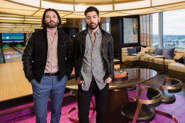 Ryan Craig (left) and Ronn Nicolli, inside the Kingpin Suite in the Palms' Fantasy Tower.