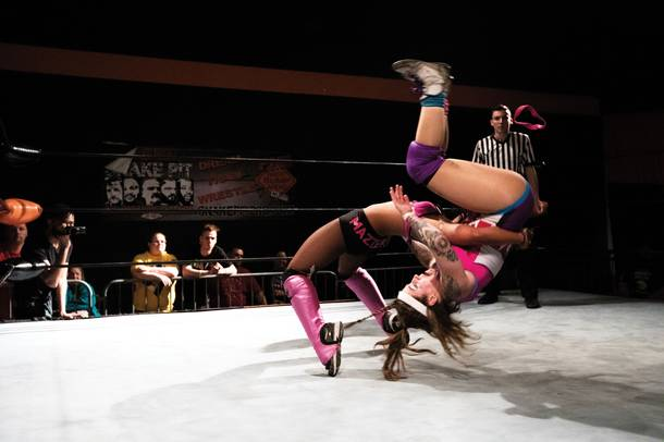 Mazzerati and Delilah Doom perform inside the Future Stars of Wrestling ring. (Krystal Ramirez/Special to the Weekly)