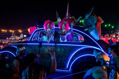 Electric Daisy Carnival performers entertain the crowd at the largest dance festival in North America.