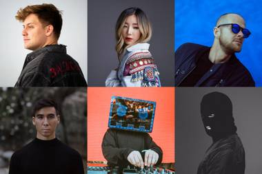 Top (left to right): Kayzo, Tokimonsta and Adam Beyer; bottom (left to right) Rinzen, Barely Alive, Malaa