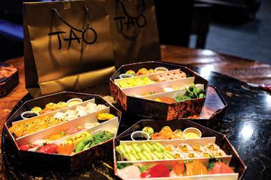The selection of favorites includes two signature sushi rolls, nine pieces of nigiri or sashimi, two pieces each of spicy tuna and yellowtail on crispy rice, edamame and Tao-branded tamago.