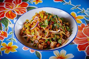The crispy rice salad is a texturally complex dish that can only be described as a party in your mouth, electrifying every taste bud in a delightful and surprising way.