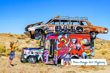"Get ready to really put the ""trip"" road trip, visiting kaleidoscopic boulder towers, a forest of junk cars, a ghost town sculpture garden & other art-tastic, oddball attractions."