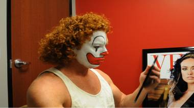 "In his show at Atrium Showroom, Scott Thompson (known as Carrot Top onstage) refers to himself as a ""mean clown."" For his Las Vegas Weekly cover story, he sat for a photo session in which half his face was painted as a clown. Here is the process."